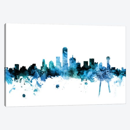 Dallas, Texas Skyline Canvas Print #MTO1306} by Michael Tompsett Canvas Wall Art
