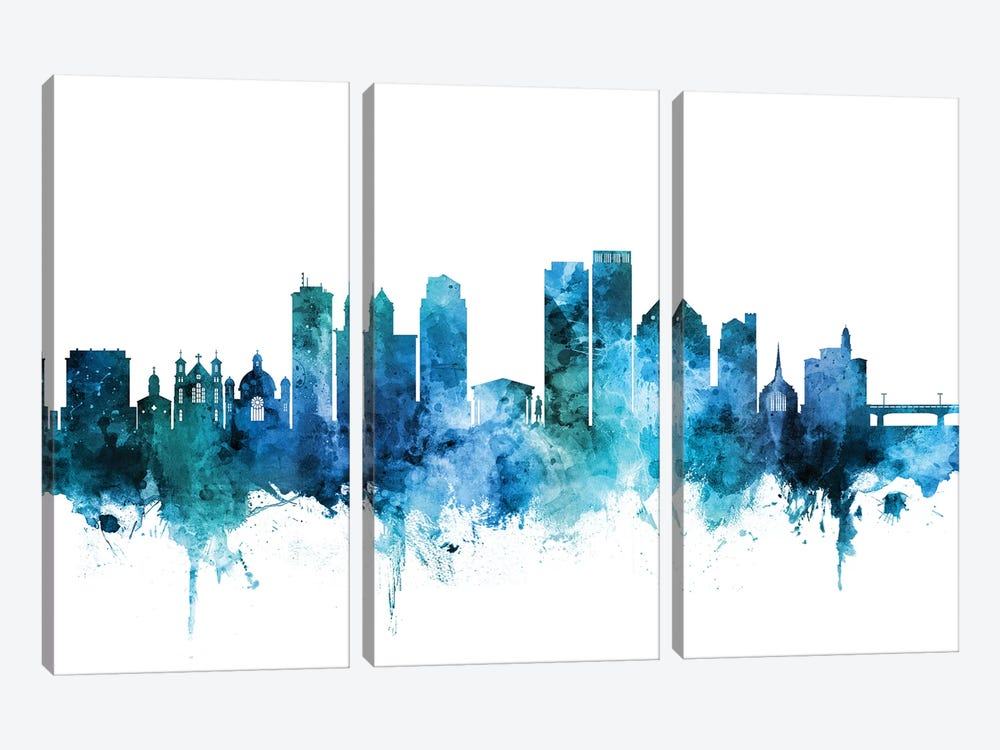 Dayton, Ohio Skyline by Michael Tompsett 3-piece Canvas Art