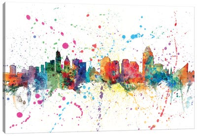 Rainbow Splash Skyline Series: Cincinnati, Ohio, USA Canvas Print #MTO130