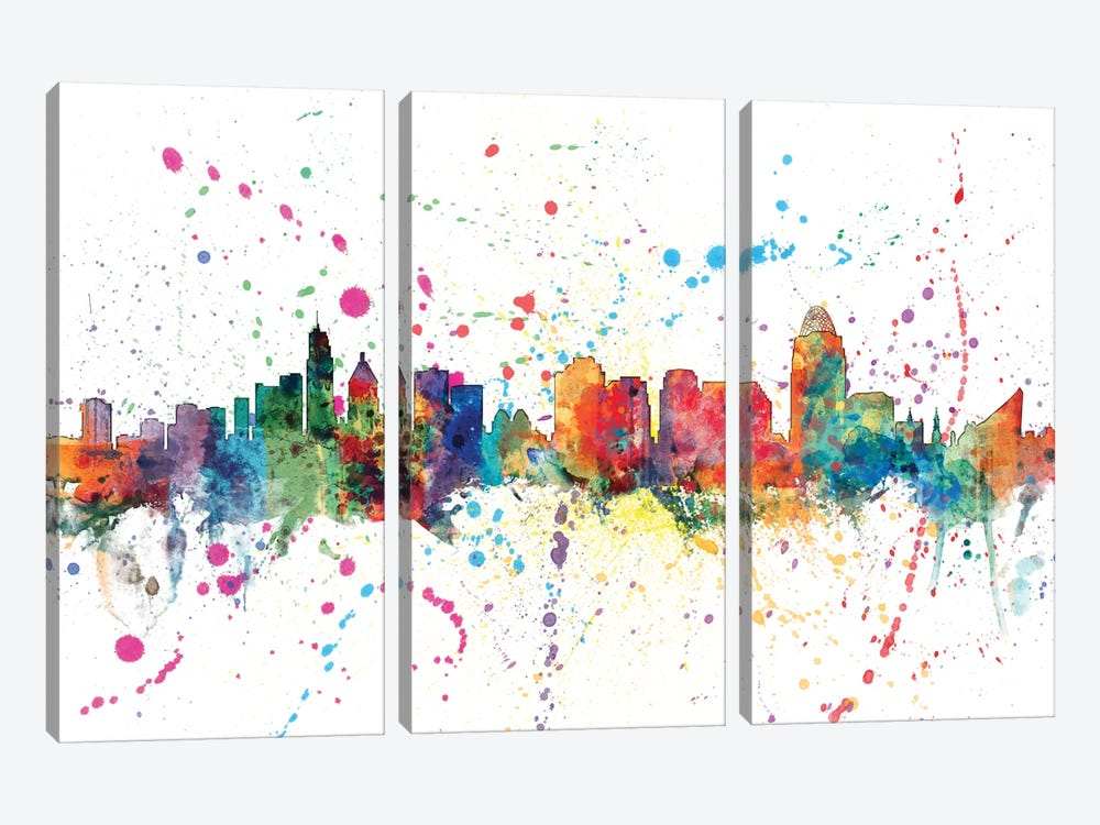 Cincinnati, Ohio, USA by Michael Tompsett 3-piece Canvas Art Print