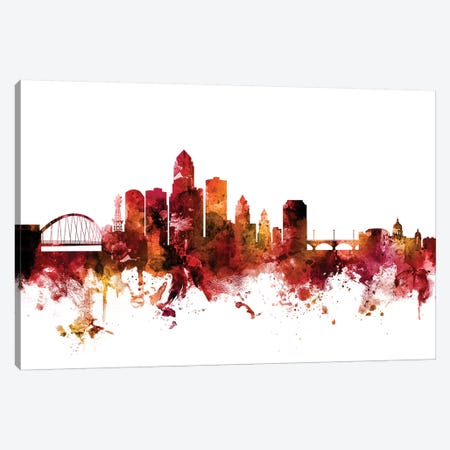 Des Moines, Iowa Skyline Canvas Print #MTO1313} by Michael Tompsett Canvas Artwork