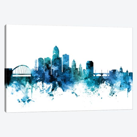 Des Moines, Iowa Skyline Canvas Print #MTO1314} by Michael Tompsett Art Print