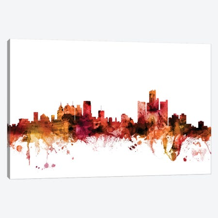 Detroit, Michigan Skyline Canvas Print #MTO1315} by Michael Tompsett Canvas Art Print