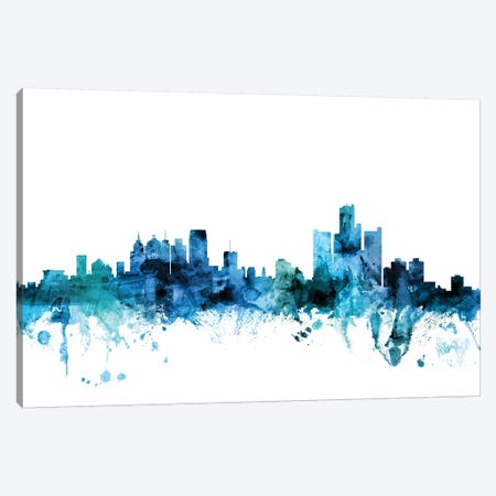 Detroit, Michigan Skyline Canvas Print #MTO1316} by Michael Tompsett Art Print