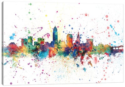 Rainbow Splash Skyline Series: Cleveland, Ohio, USA Canvas Art Print