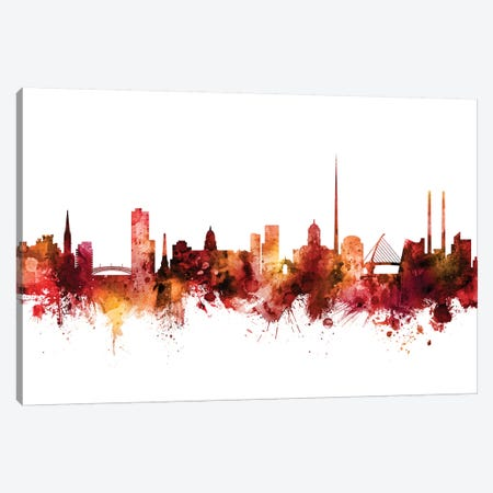 Dublin, Ireland Skyline Canvas Print #MTO1323} by Michael Tompsett Canvas Art Print