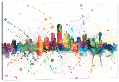 Rainbow Splash Skyline Series: Dallas, Texas, USA Canvas Art Print