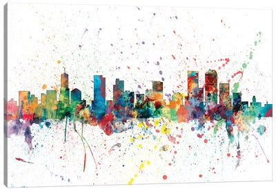 Rainbow Splash Skyline Series: Denver, Colorado, USA Canvas Art Print