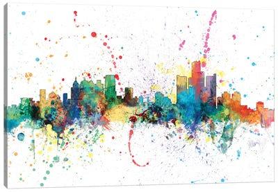 Rainbow Splash Skyline Series: Detroit, Michigan, USA Canvas Print #MTO134