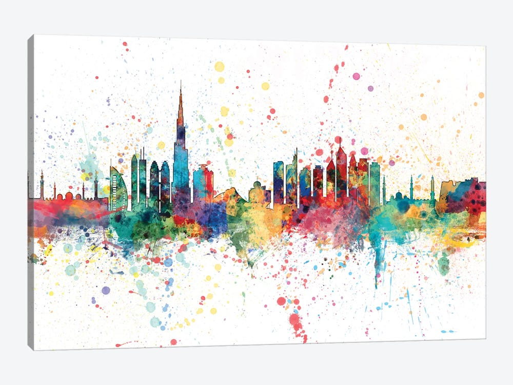 Rainbow Splash Skyline Series: Dubai, UAE by Michael Tompsett 1-piece Canvas Artwork