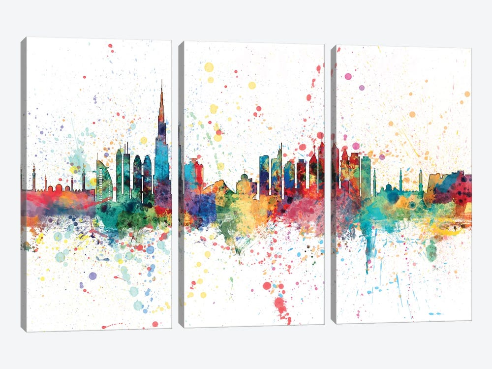 Rainbow Splash Skyline Series: Dubai, UAE by Michael Tompsett 3-piece Canvas Art