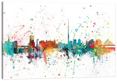 Rainbow Splash Skyline Series: Dublin, Republic Of Ireland Canvas Art Print