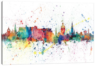 Rainbow Splash Skyline Series: Edinburgh, Scotland, United Kingdom Canvas Art Print