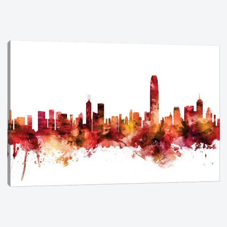 Hong Kong Skyline Canvas Print #MTO1384} by Michael Tompsett Canvas Wall Art