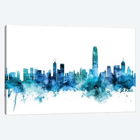 Hong Kong Skyline Canvas Print #MTO1385} by Michael Tompsett Canvas Artwork