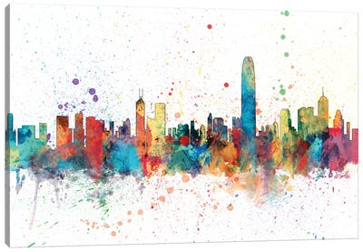 Rainbow Splash Skyline Series: Hong Kong, People's Republic Of China Canvas Art Print