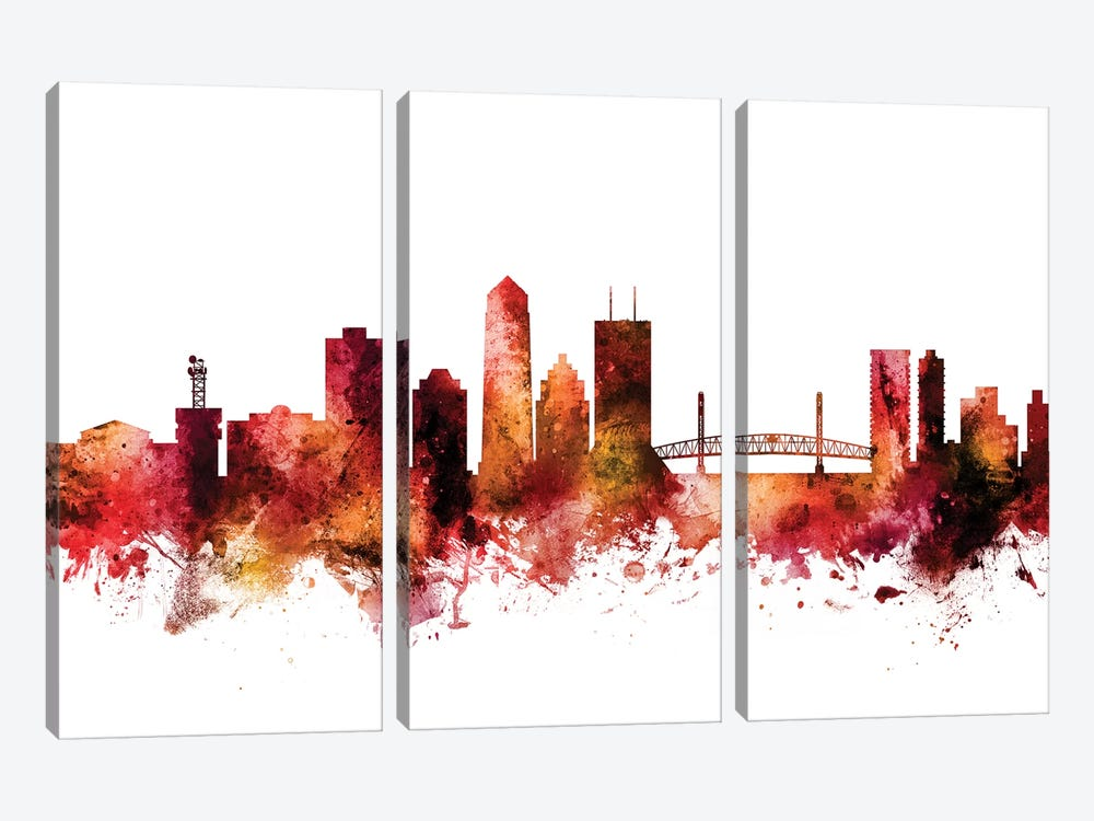 Jacksonville, Florida Skyline by Michael Tompsett 3-piece Canvas Art