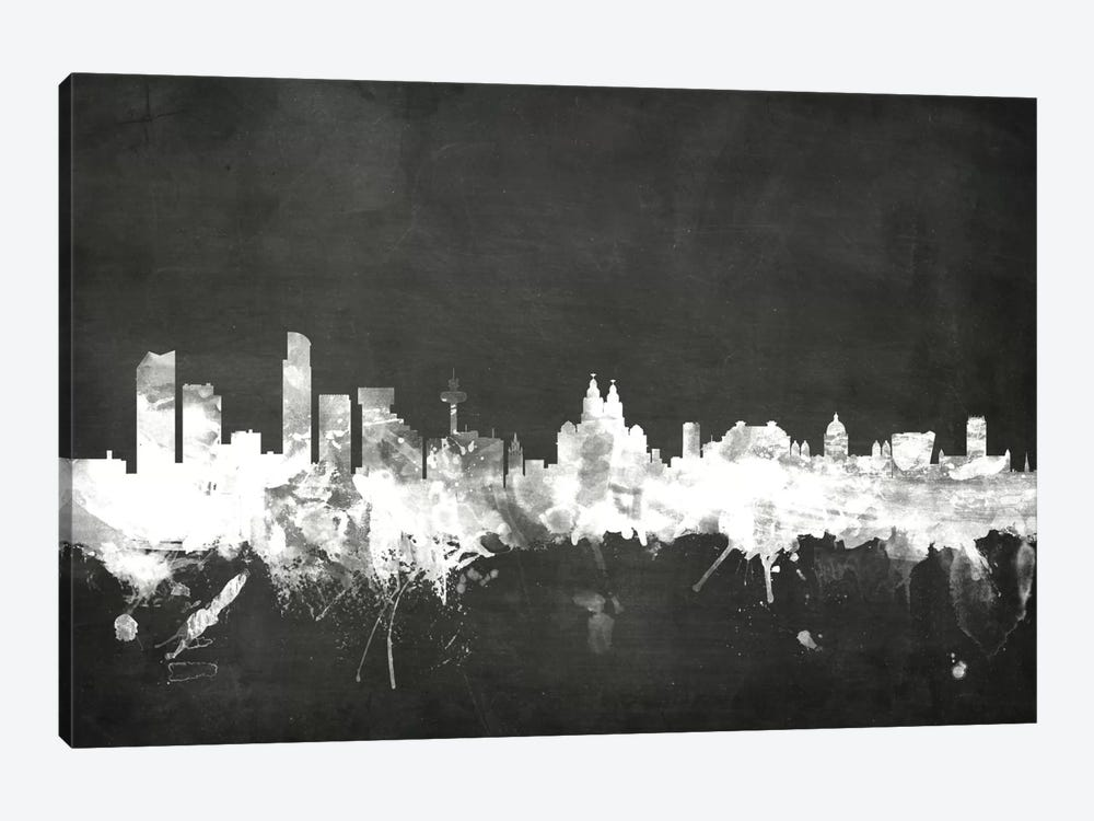 Blackboard Skyline Series: Liverpool, England, United Kingdom by Michael Tompsett 1-piece Art Print
