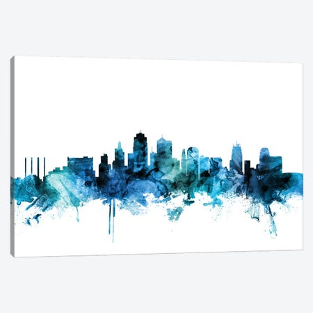 Kansas City, Missouri Skyline Canvas Print #MTO1407} by Michael Tompsett Canvas Print