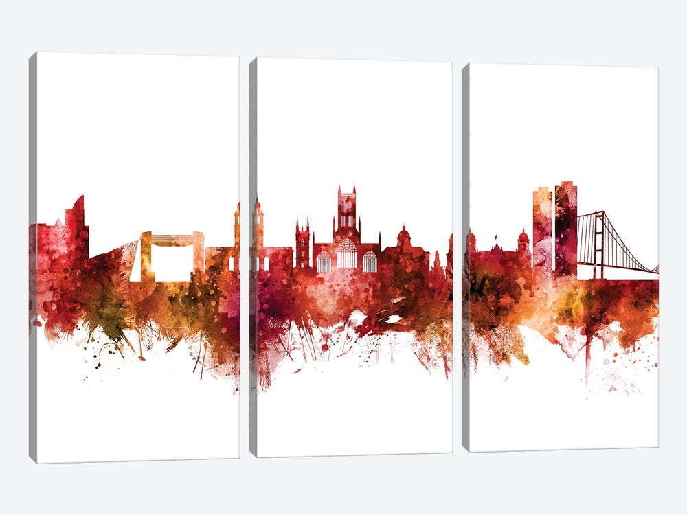 Kingston upon Hull, England Skyline by Michael Tompsett 3-piece Canvas Wall Art