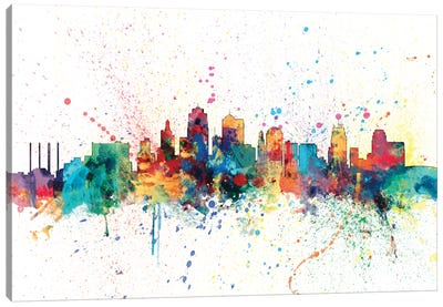 Rainbow Splash Skyline Series: Kansas City, Missouri, USA Canvas Print #MTO141