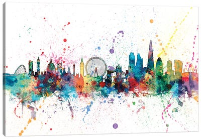 Rainbow Splash Skyline Series: London, England, United Kingdom Canvas Print #MTO142