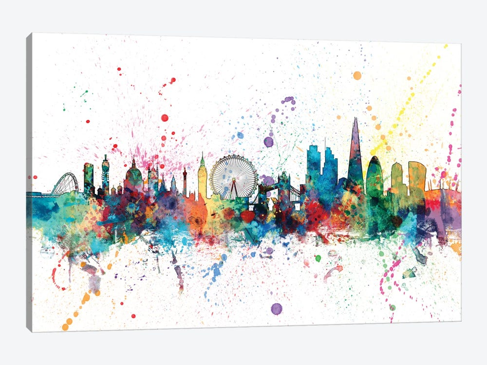 Rainbow Splash Skyline Series: London, England, United Kingdom by Michael Tompsett 1-piece Canvas Art