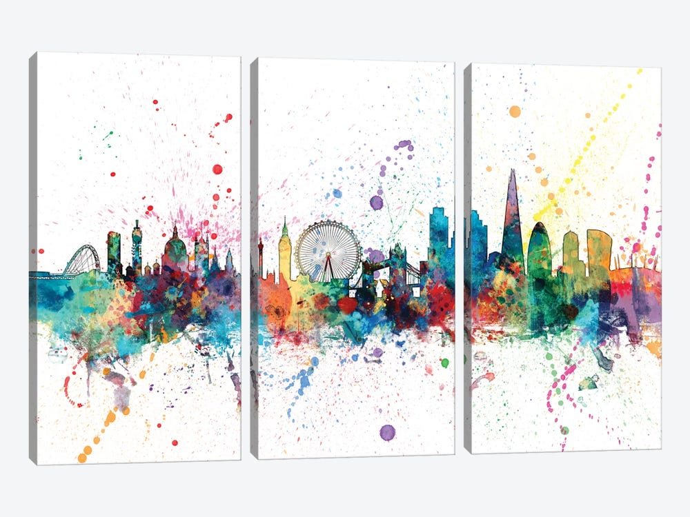 Rainbow Splash Skyline Series: London, England, United Kingdom by Michael Tompsett 3-piece Canvas Wall Art
