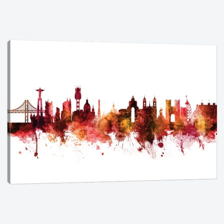 Lisbon, Portugal Skyline Canvas Print #MTO1438} by Michael Tompsett Art Print