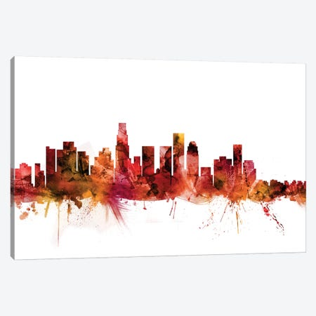 Los Angeles, California Skyline Canvas Print #MTO1448} by Michael Tompsett Canvas Artwork