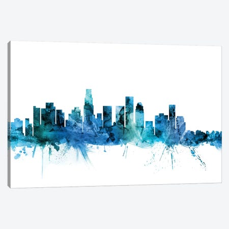 Los Angeles, California Skyline Canvas Print #MTO1449} by Michael Tompsett Canvas Wall Art
