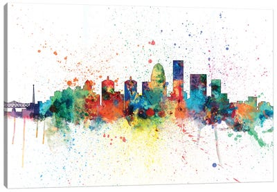 Rainbow Splash Skyline Series: Louisville, Kentucky, USA Canvas Print #MTO144