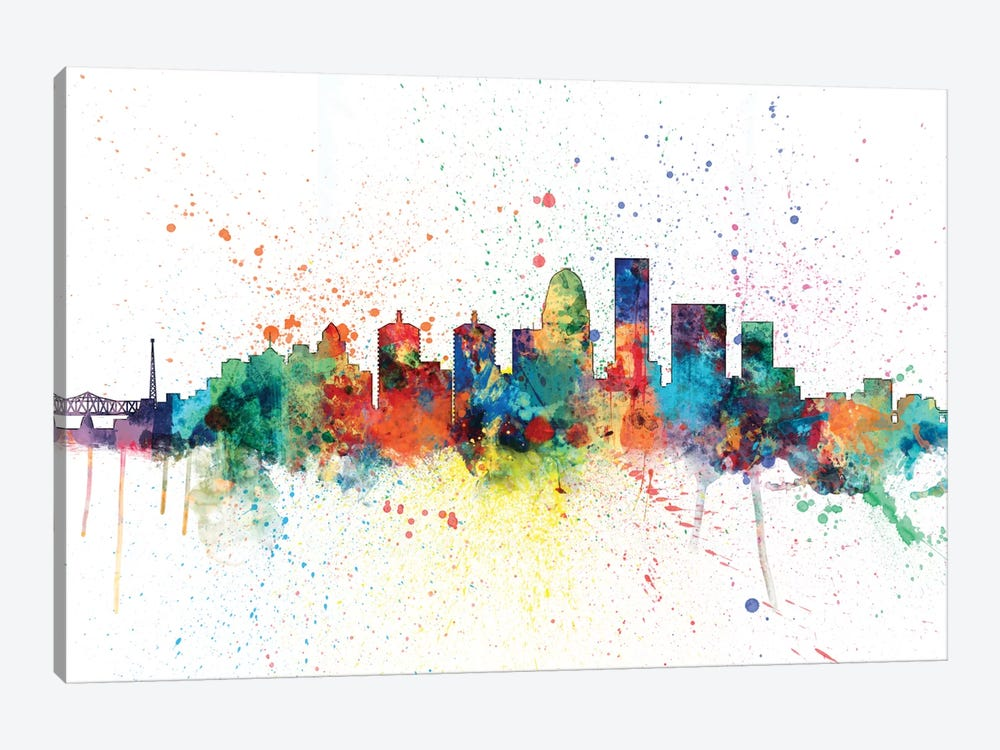 Rainbow Splash Skyline Series: Louisville, Kentucky, USA by Michael Tompsett 1-piece Canvas Art