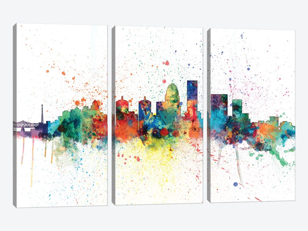 Rainbow Splash Skyline Series: Louisville, Kentucky, USA by Michael Tompsett 3-piece Canvas Art