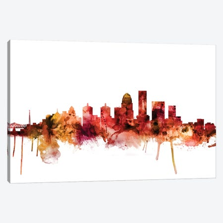 Louisville, Kentucky City Skyline Canvas Print #MTO1450} by Michael Tompsett Canvas Art Print
