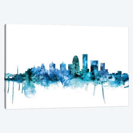 Louisville, Kentucky City Skyline Canvas Print #MTO1451} by Michael Tompsett Canvas Print