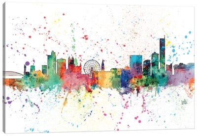 Rainbow Splash Skyline Series: Manchester, England, United Kingdom Canvas Print #MTO145