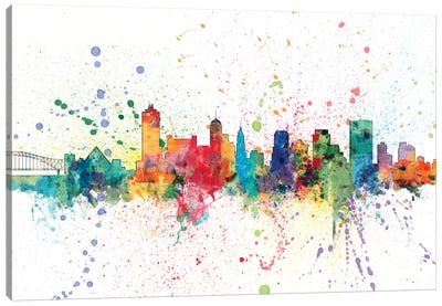 Rainbow Splash Skyline Series: Memphis, Tennessee, USA Canvas Print #MTO146