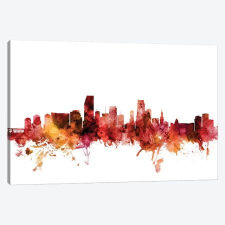 Miami, Florida Skyline Canvas Print #MTO1472} by Michael Tompsett Art Print