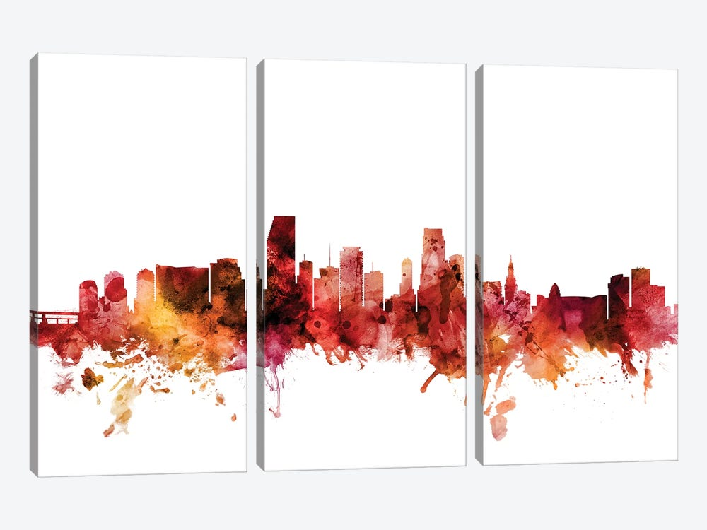 Miami, Florida Skyline by Michael Tompsett 3-piece Canvas Print