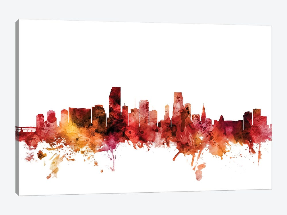 Miami, Florida Skyline by Michael Tompsett 1-piece Art Print