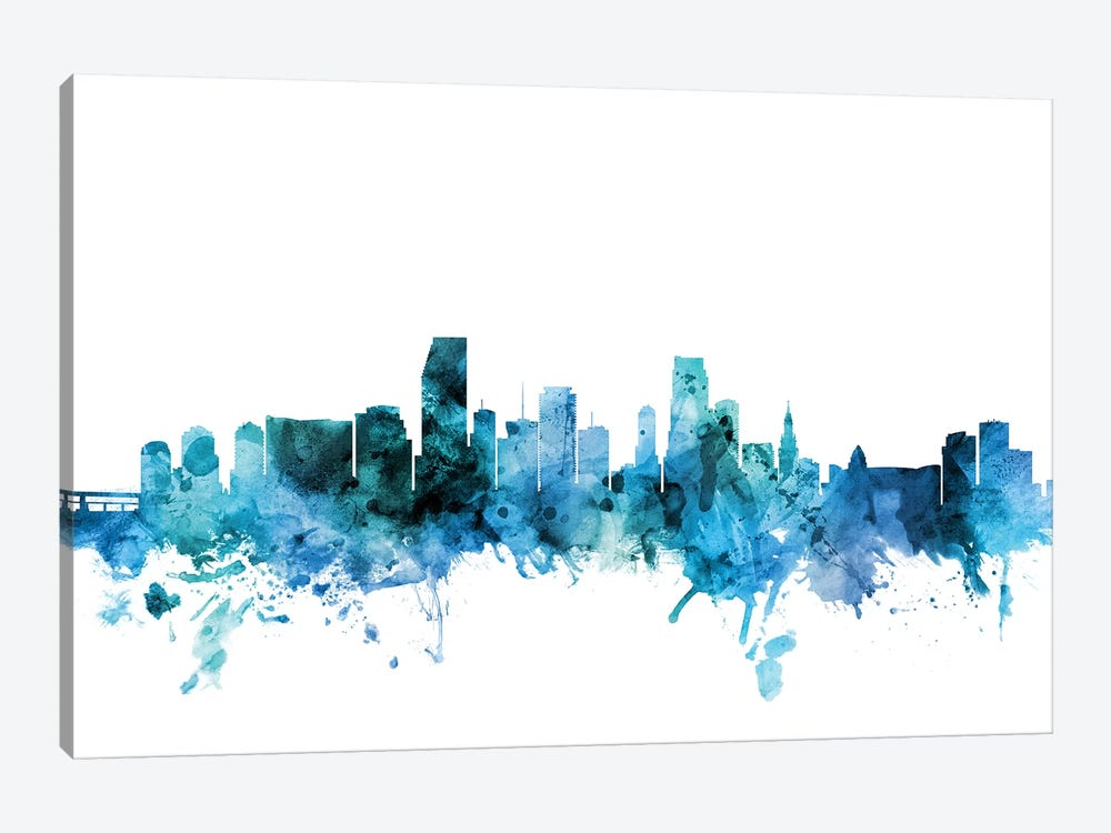 Miami, Florida Skyline by Michael Tompsett 1-piece Canvas Artwork