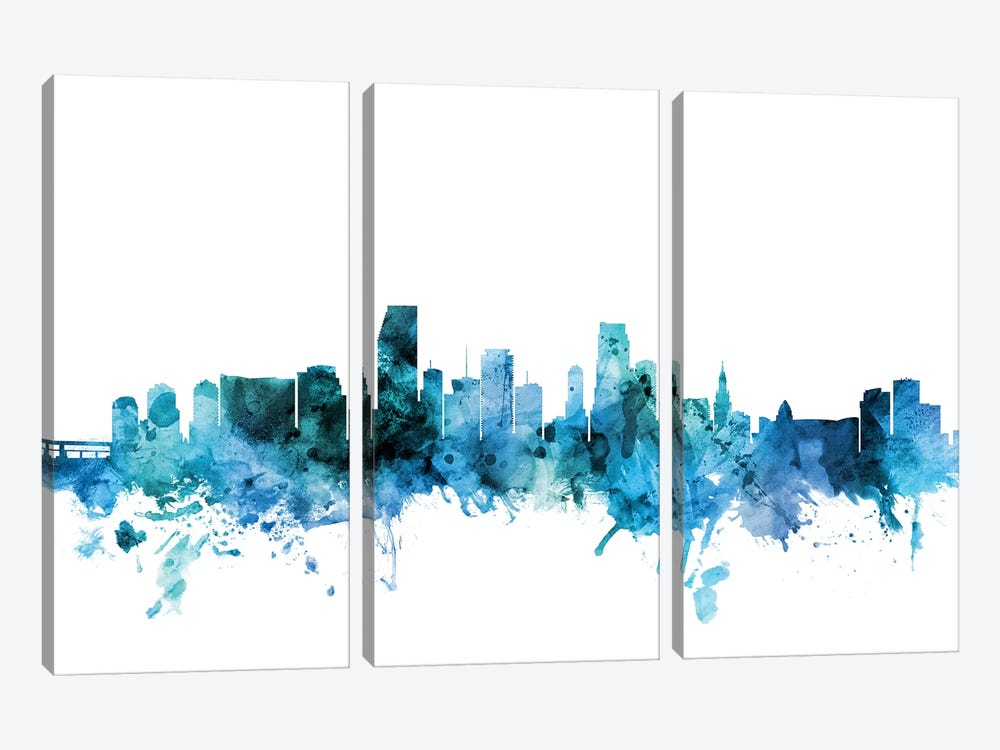 Miami, Florida Skyline by Michael Tompsett 3-piece Canvas Artwork