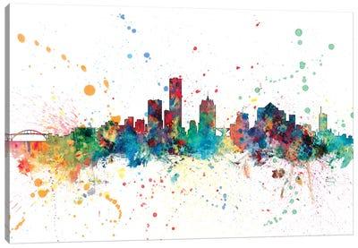 Rainbow Splash Skyline Series: Milwaukee, Wisconsin, USA Canvas Print #MTO147