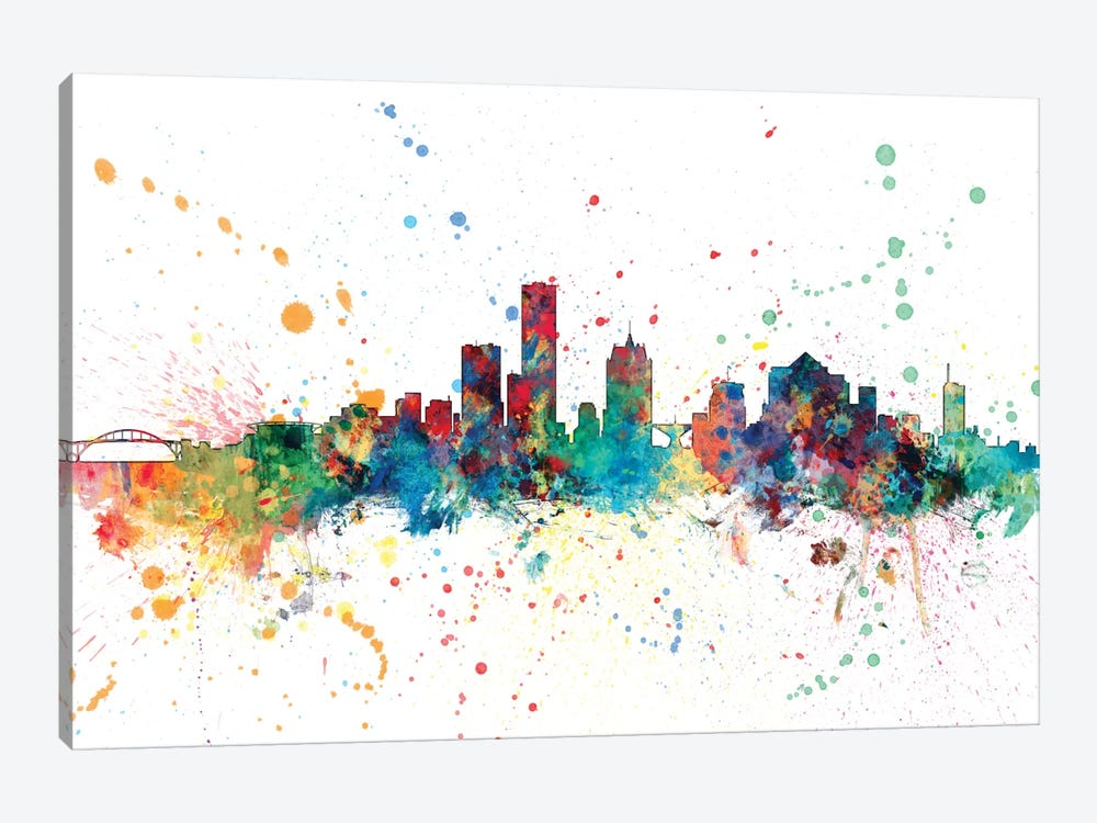 Rainbow Splash Skyline Series: Milwaukee, Wisconsin, USA by Michael Tompsett 1-piece Canvas Print