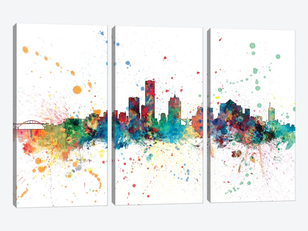 Rainbow Splash Skyline Series: Milwaukee, Wisconsin, USA by Michael Tompsett 3-piece Canvas Print