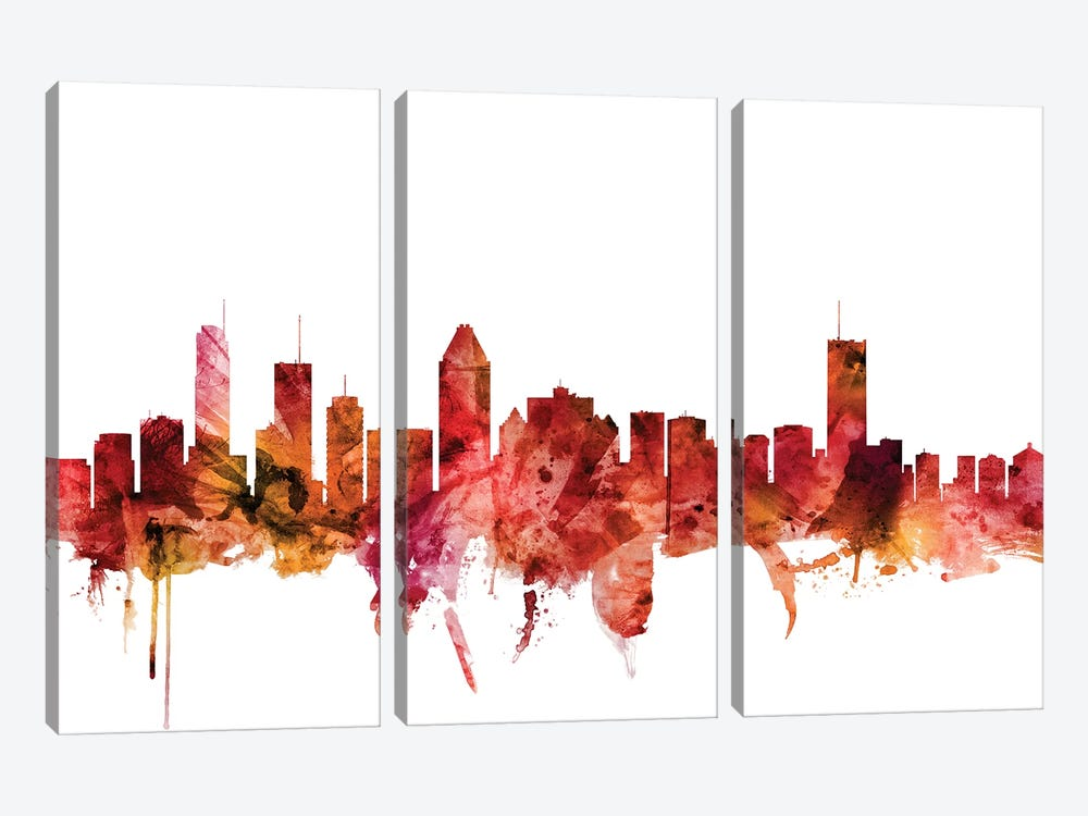 Montreal, Canada Skyline by Michael Tompsett 3-piece Canvas Artwork