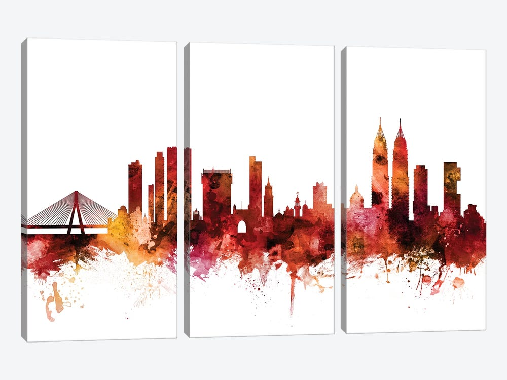 Mumbai, Skyline India  by Michael Tompsett 3-piece Canvas Artwork