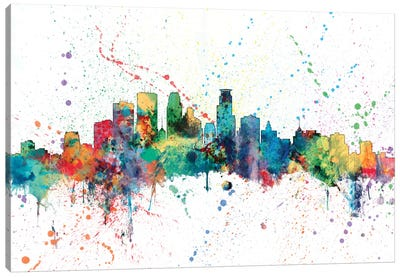 Rainbow Splash Skyline Series: Minneapolis, Minnesota, USA Canvas Print #MTO148