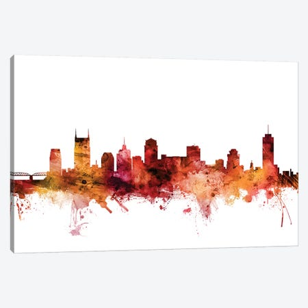 Nashville, Tennessee Skyline 3-Piece Canvas #MTO1490} by Michael Tompsett Canvas Print